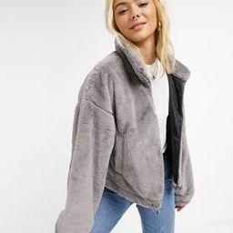 ASOS DESIGN cropped faux fur jacket in gray   ASOS (Global)