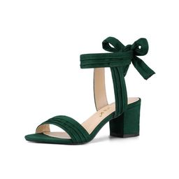 Women's Open Toe Back Ankle Tie Chunky Heel Sandals | Walmart (US)