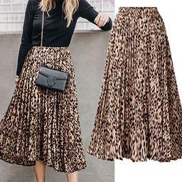 CHARTOU Womens Chic Elastic High Waisted A Line Leopard Print Pleated Shirring Midi-Long Skirt   Amazon (US)