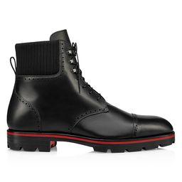 Christian Louboutin Men's City Leather Lasercut Combat Boots - Black - Size 40 (7)   Saks Fifth Avenue