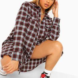 Womens Plus Boyfriend Flannel Shirt Dress - Black - 14   Boohoo.com (US & CA)