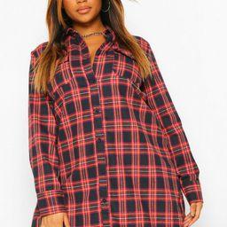 Womens Plus Boyfriend Flannel Shirt Dress - Navy - 22   Boohoo.com (US & CA)