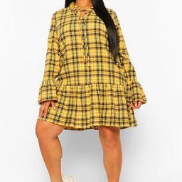 Womens Plus Flannel Drop Hem Smock Dress - Yellow - 12   Boohoo.com (US & CA)