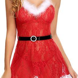 Avidlove Christmas Lingerie for Women Red Santa Babydoll Lingerie Dress Lace Chemise | Amazon (US)