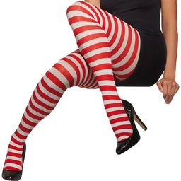 Fever Striped Candy Cane Tights, One Size, Red/White | Walmart (US)