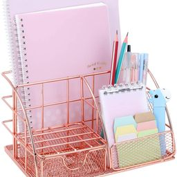 Rose Gold Desk Organizer with Drawer, File Tray and 4 Upright Sections Mesh Office Desk Organizer...   Amazon (US)