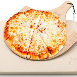 Pizza Stone by Hans Grill Baking Stone For Pizzas use in Oven and Grill / BBQ FREE Wooden Pizza P...   Amazon (US)