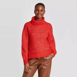Women's Turtleneck Cable Stitch Pullover Sweater - A New Day™   Target