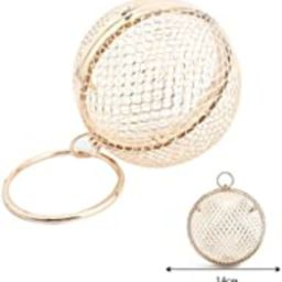 Women Round Ball Clutch Handbag Hollow Out Cage Metal Evening Bag Wedding Party Purse | Amazon (US)
