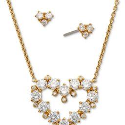 Eliot Danori Gold-Tone 2-Pc. Set Cubic Zirconia Heart Pendant Necklace & Matching Stud Earrings, Cre   Macys (US)