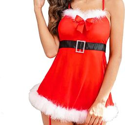 Avidlove Women Sexy Santa Outfit Red Christmas Babydoll Holiday Lace Chemise Nightie with G-Strin... | Amazon (US)