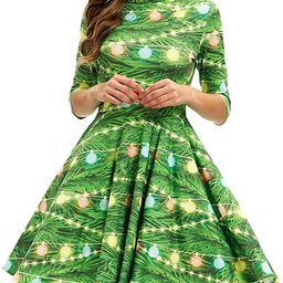 GLUDEAR Women's 3D Print Short Sleeve Unique Casual Flared Midi Dress | Amazon (US)