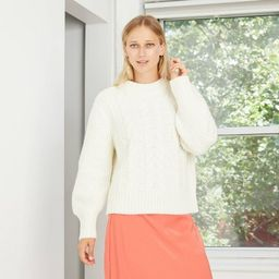 Women's Crewneck Cable Stitch Pullover Sweater - A New Day™ | Target