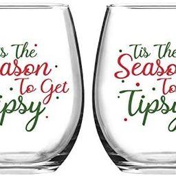 Set of 2 Tis the Season to Get Tipsy Christmas Stemless Wine Glass for Funny Christmas Holiday Gi...   Amazon (US)