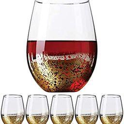 Gold Rimmed Stemless Wine Glasses, 18oz – Set of 6 Elegant Cocktail Tumblers – Premium Glass ...   Amazon (US)