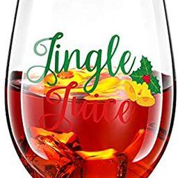 Wine Glass, Christmas Jingle Juice Cups 17 oz Bells Stemless Bottles for Men Women Friends Xmas P...   Amazon (US)