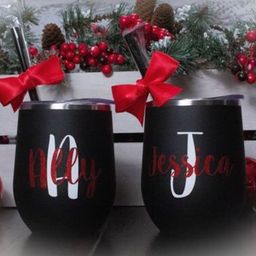 BLACK GLITTER CHRISTMAS tumblers, Christmas Wine Tumblers, office party gift ideas, gifts for co-...   Etsy (US)