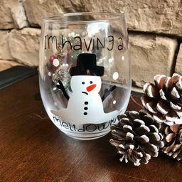Christmas wine Glasses, Christmas Gifts, Holiday Wine glasses, Snowman glasses, Stemless wine gla...   Etsy (US)