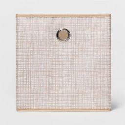 "11"" Fabric Cube Storage Bin Cross Hatched Tan - Room Essentials™ | Target"