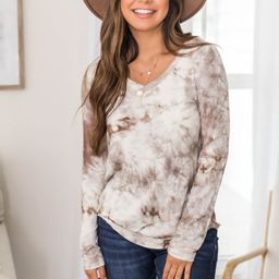 Captivating Love Tie Dye V-neck Taupe CLEARANCE | The Pink Lily Boutique