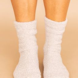 Let's Stay Home Fuzzy Beige Socks SALE | The Pink Lily Boutique