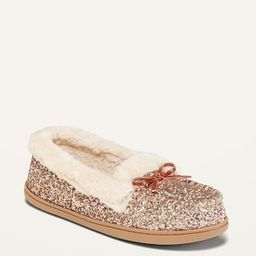 Glitter Faux-Fur Lined Moccasin Slippers for Women | Old Navy (US)