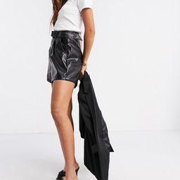 Fashion Union shorts with belt in faux leather | ASOS (Global)