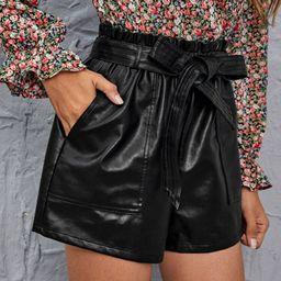 SHEIN Paperbag Waist Belted PU Shorts | SHEIN