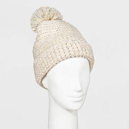 Women's Hand Knit Pom Beanie - Universal Thread Cream One Size, Ivory | Target