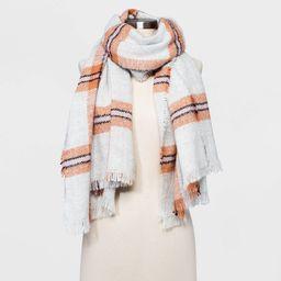 Women's Plaid Blanket Scarf - Universal Thread Cream One Size, Ivory | Target