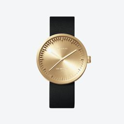 D42 Brass Tube Watch w/ Black Leather Strap | Fy! (UK)