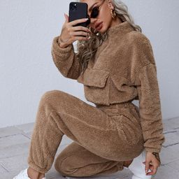 SHEIN O-ring Zip Up Pocket Front Teddy Pullover & Sweatpants Set   SHEIN