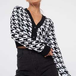 Black Houndstooth Knit Cropped Cardigan   Missguided (US & CA)