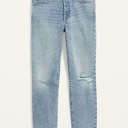 High-Waisted O.G. Straight Button-Fly Ripped Jeans for Women | Old Navy (US)