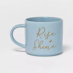 16oz Stoneware Rise and Shine Stacking Mug Blue - Threshold™ | Target