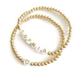 Gold Bracelet with Personalized Antique Letter Beads   Sea Marie Designs