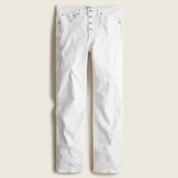 """10"""" vintage straight jean in white with button fly 