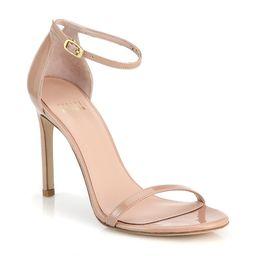 Stuart Weitzman Women's Nudistsong Ankle-Strap Metallic Leather Sandals - Nude - Size 7.5 M | Saks Fifth Avenue