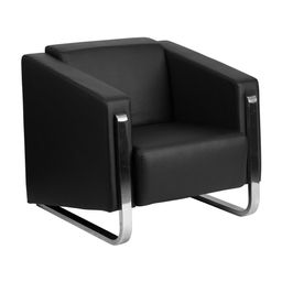 Offex Hercules Gallant Series Contemporary Black Leather Chair with Stainless Steel Frame (Black) | Overstock
