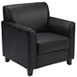 """Flash Furniture Black Leather Chair table, 29"""" D x 30.5"""" W x 32.5"""" H 