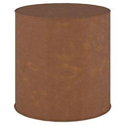 Harper Faux-Leather Round Ottoman - Saddle Brown | One Kings Lane