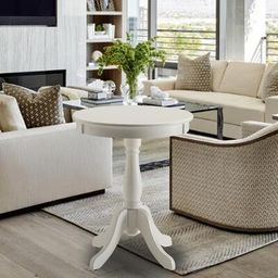 Layne Pedestal End Table Canora Grey Color: White | Wayfair North America
