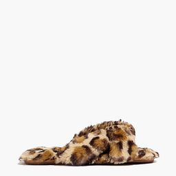 Crisscross Scuff Slippers in Leopard Recycled Faux Fur   Madewell