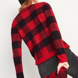 Cozy Plaid Crew-Neck Sweater for Women | Old Navy (US)