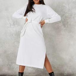White Basic Tie Belt Midi Sweater Dress | Missguided (US & CA)