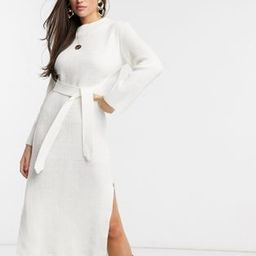 Unique21 roll neck maxi sweater dress in white | ASOS (Global)