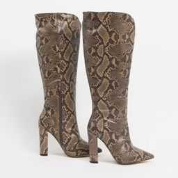 Public Desire Wide Fit Slow knee high boots in brown snake | ASOS (Global)