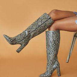 Faux Snakeskin Knee-High Boots | Forever 21 (US)