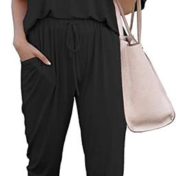 PRETTYGARDEN Women's Two Piece Outfit Short Sleeve Pullover with Drawstring Long Pants Tracksui... | Amazon (US)