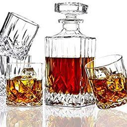 ELIDOMC 5PC Italian Crafted Crystal Whiskey Decanter & Whiskey Glasses Set, Crystal Decanter Set ...   Amazon (US)